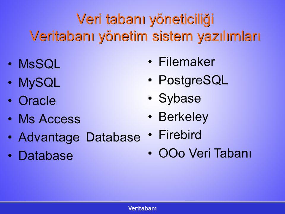 Veritabanı Veri tabanı yöneticiliği Veritabanı yönetim sistem yazılımları MsSQL MySQL Oracle Ms Access Advantage Database Database Filemaker PostgreSQL Sybase Berkeley Firebird OOo Veri Tabanı