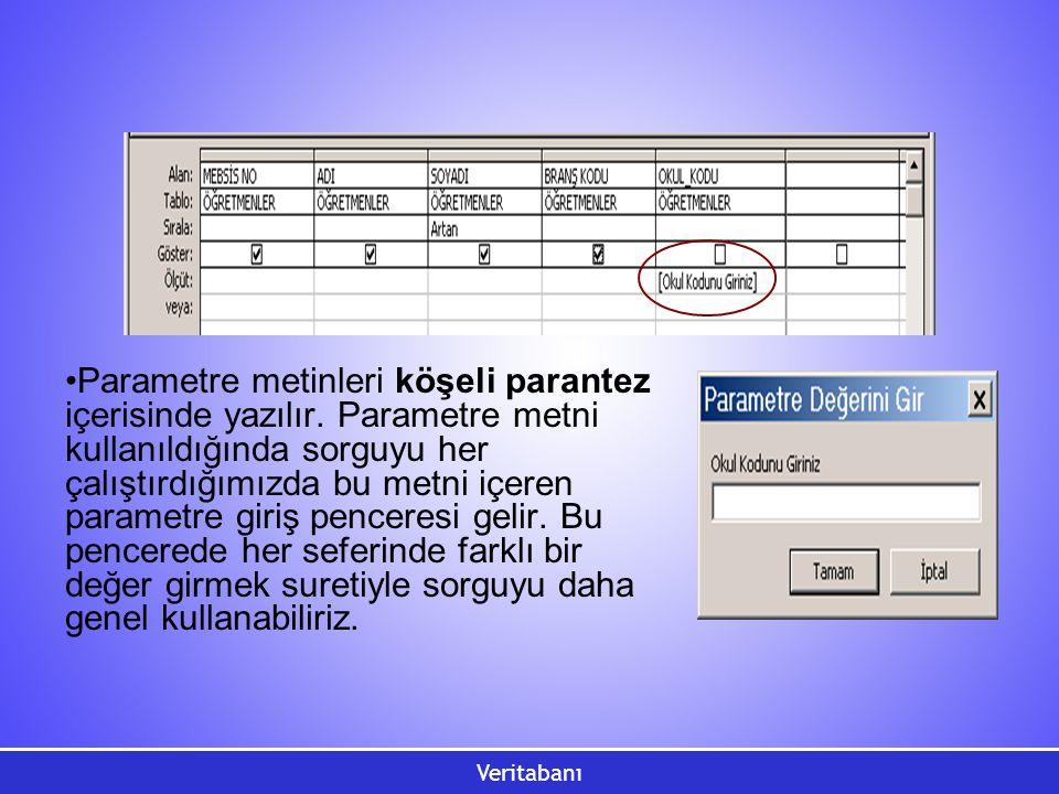 Veritabanı Parametre metinleri köşeli parantez içerisinde yazılır. Parametre metni kullanıldığında sorguyu her çalıştırdığımızda bu metni içeren param