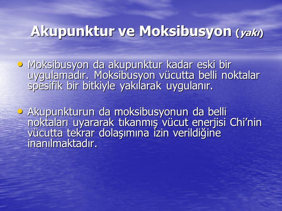 Akupunktur ve Moksibusyon (yakı) Moksibusyon da akupunktur kadar eski bir uygulamadır. Moksibusyon vücutta belli noktalar spesifik bir bitkiyle yakıla