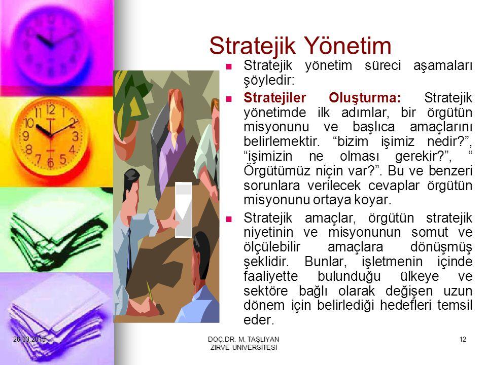 12 Stratejik Yönetim Stratejik yönetim süreci aşamaları şöyledir: Stratejiler Oluşturma: Stratejik yönetimde ilk adımlar, bir örgütün misyonunu ve baş