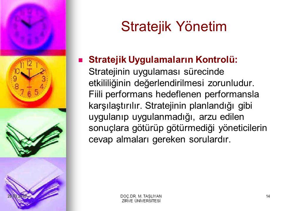 14 Stratejik Yönetim Stratejik Uygulamaların Kontrolü: Stratejinin uygulaması sürecinde etkililiğinin değerlendirilmesi zorunludur. Fiili performans h
