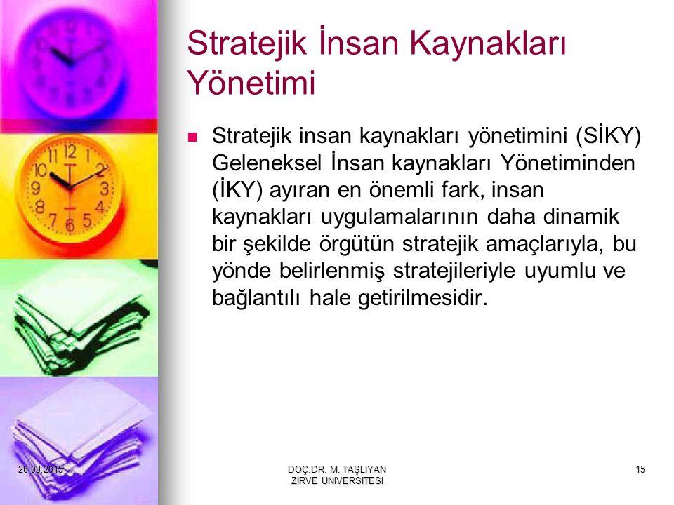 15 Stratejik İnsan Kaynakları Yönetimi Stratejik insan kaynakları yönetimini (SİKY) Geleneksel İnsan kaynakları Yönetiminden (İKY) ayıran en önemli fa