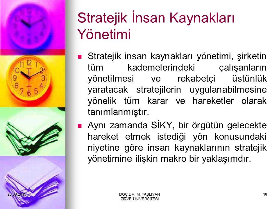 18 Stratejik İnsan Kaynakları Yönetimi Stratejik insan kaynakları yönetimi, şirketin tüm kademelerindeki çalışanların yönetilmesi ve rekabetçi üstünlü