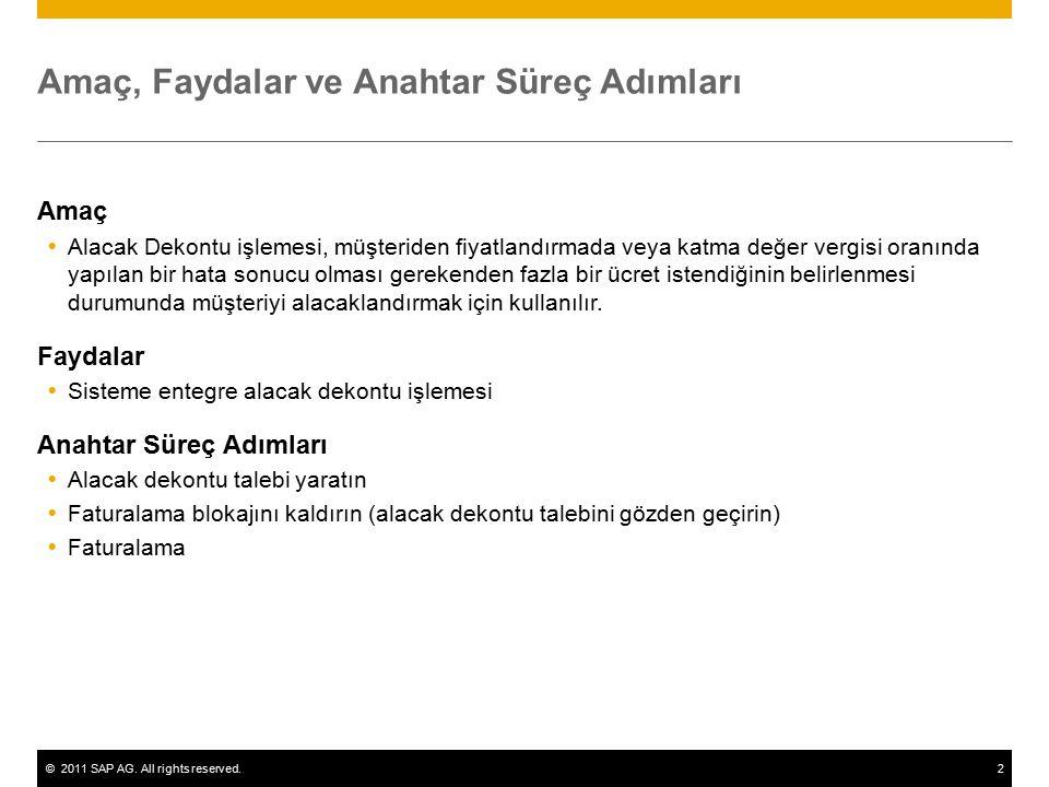 ©2011 SAP AG. All rights reserved.2 Amaç, Faydalar ve Anahtar Süreç Adımları Amaç  Alacak Dekontu işlemesi, müşteriden fiyatlandırmada veya katma değ