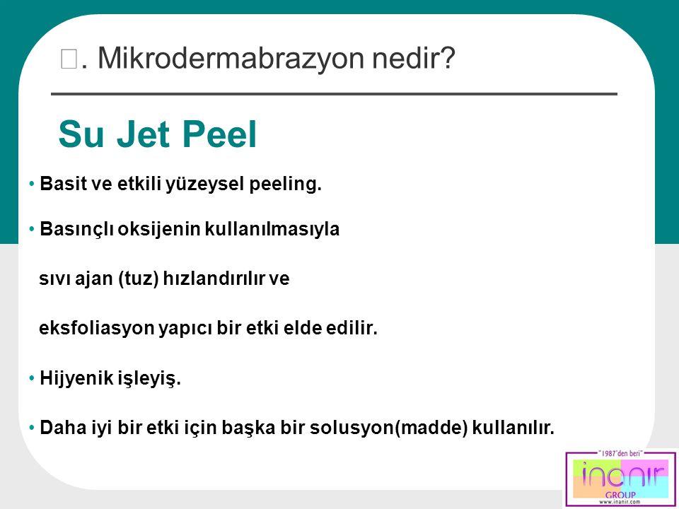Su Jet Peel Basit ve etkili yüzeysel peeling. Basınçlı oksijenin kullanılmasıyla sıvı ajan (tuz) hızlandırılır ve eksfoliasyon yapıcı bir etki elde ed