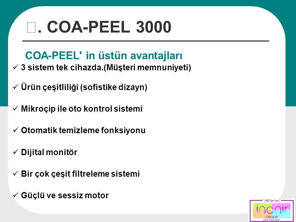 Ⅲ. COA-PEEL 3000 COA-PEEL' in üstün avantajları 3 sistem tek cihazda.(Müşteri memnuniyeti) Ürün çeşitliliği (sofistike dizayn) Mikroçip ile oto kontro