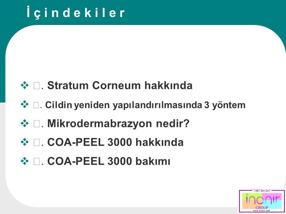  Ⅰ. Stratum Corneum hakkında  Ⅱ. Cildin yeniden yapılandırılmasında 3 yöntem  Ⅲ. Mikrodermabrazyon nedir?  Ⅳ. COA-PEEL 3000 hakkında  Ⅴ. COA-PEEL