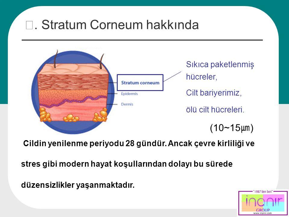 Ⅰ. Stratum Corneum hakkında Sıkıca paketlenmiş hücreler, Cilt bariyerimiz, ölü cilt hücreleri. (10~15 ㎛ ) Cildin yenilenme periyodu 28 gündür. Ancak ç