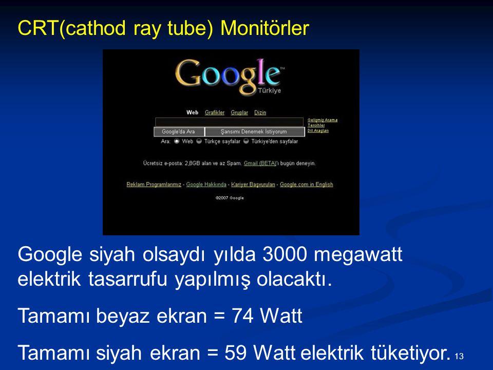 13 Google siyah olsaydı yılda 3000 megawatt elektrik tasarrufu yapılmış olacaktı.