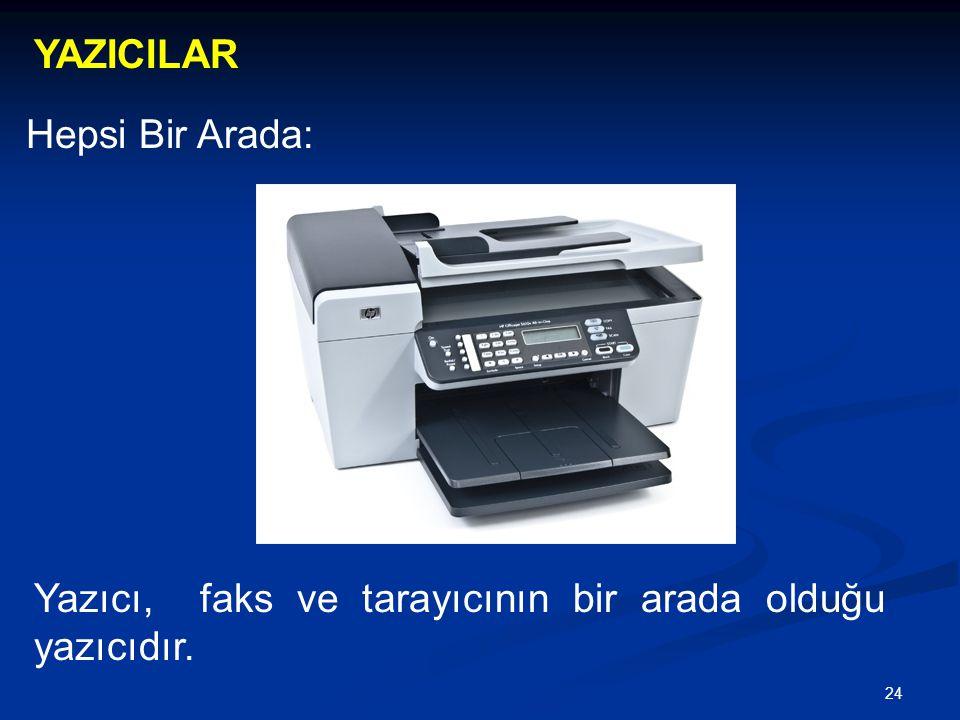 24 YAZICILAR Hepsi Bir Arada: Yazıcı, faks ve tarayıcının bir arada olduğu yazıcıdır.