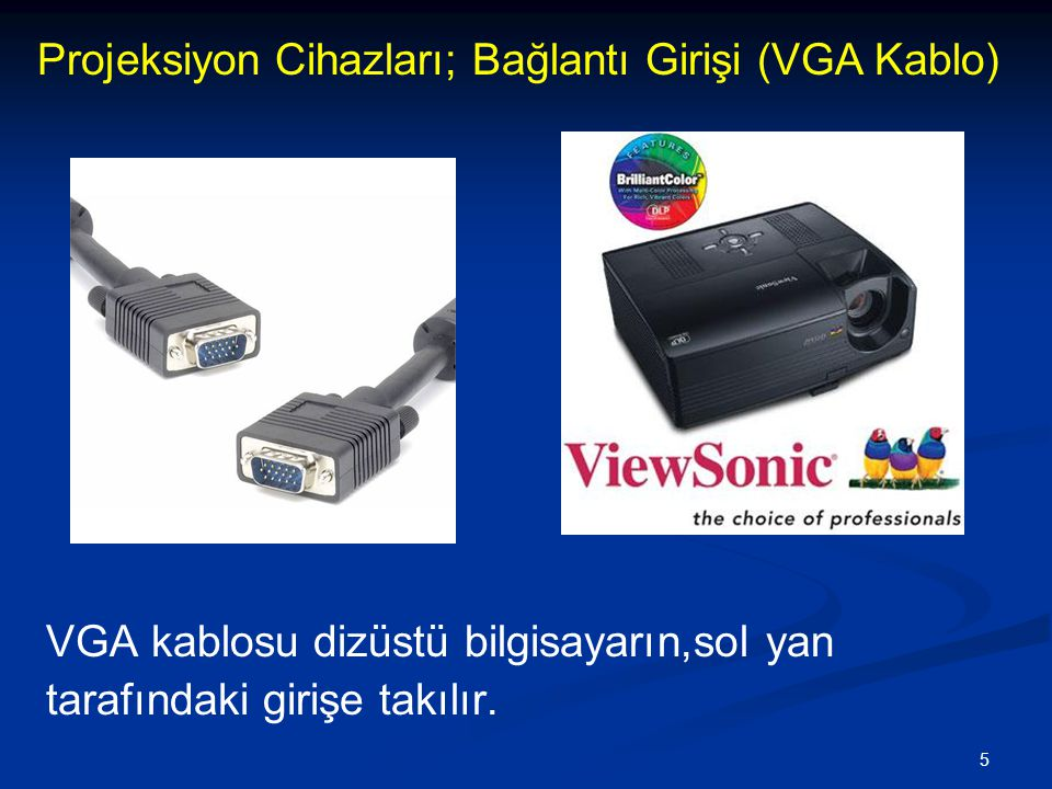 5 VGA kablosu dizüstü bilgisayarın,sol yan tarafındaki girişe takılır.