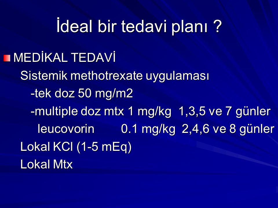 İdeal bir tedavi planı ? MEDİKAL TEDAVİ Sistemik methotrexate uygulaması Sistemik methotrexate uygulaması -tek doz 50 mg/m2 -multiple doz mtx 1 mg/kg
