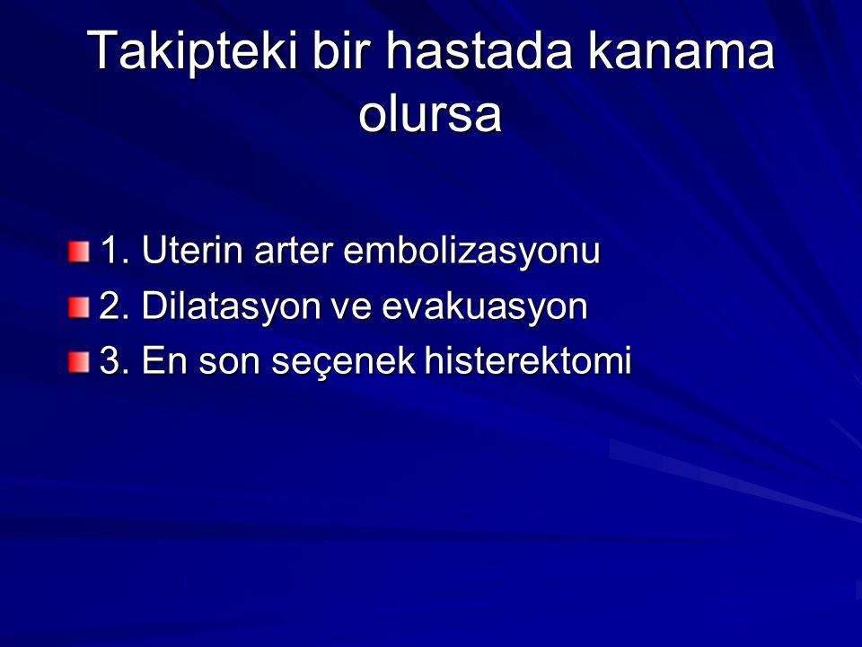 Takipteki bir hastada kanama olursa 1. Uterin arter embolizasyonu 2. Dilatasyon ve evakuasyon 3. En son seçenek histerektomi