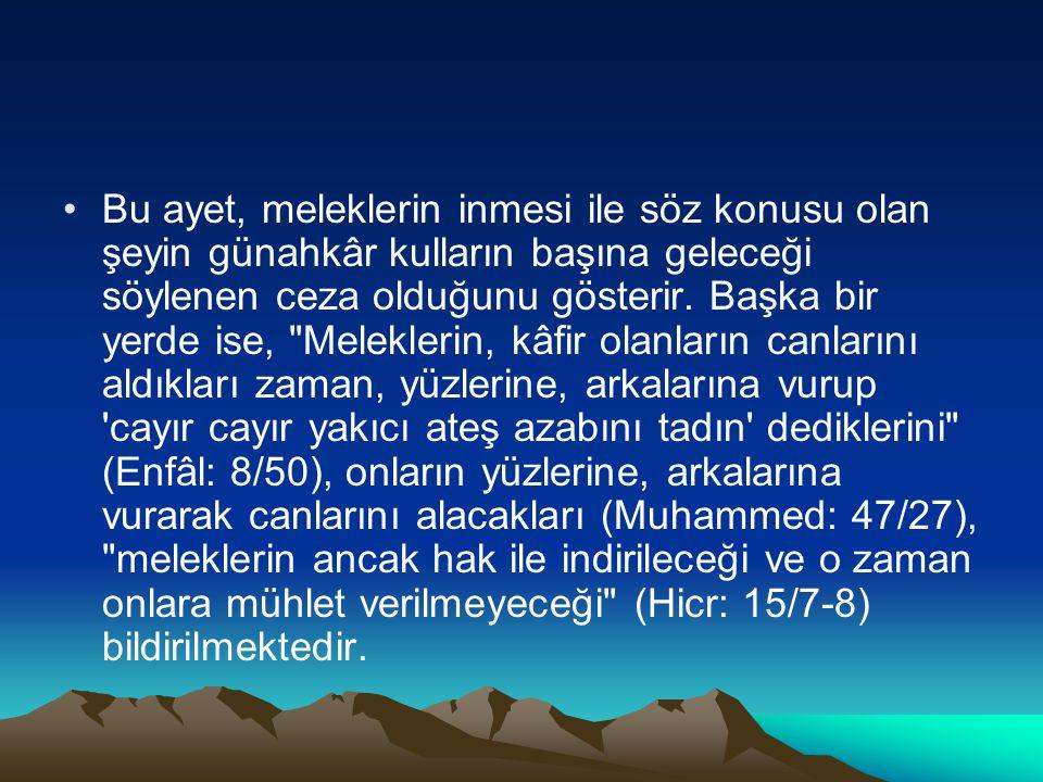 Bu ayet, meleklerin inmesi ile söz konusu olan şeyin günahkâr kulların başına geleceği söylenen ceza olduğunu gösterir. Başka bir yerde ise,