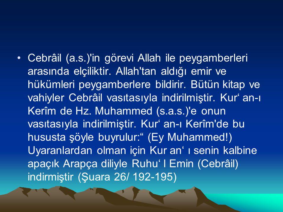 Cebrâil (a.s.)'in görevi Allah ile peygamberleri arasında elçiliktir. Allah'tan aldığı emir ve hükümleri peygamberlere bildirir. Bütün kitap ve vahiyl