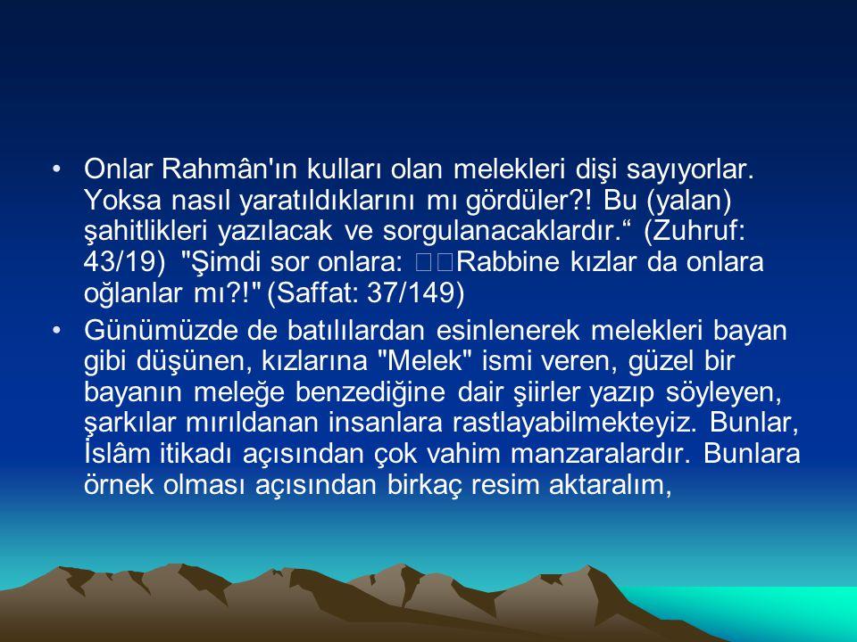 Onlar Rahmân'ın kulları olan melekleri dişi sayıyorlar. Yoksa nasıl yaratıldıklarını mı gördüler?! Bu (yalan) şahitlikleri yazılacak ve sorgulanacakla