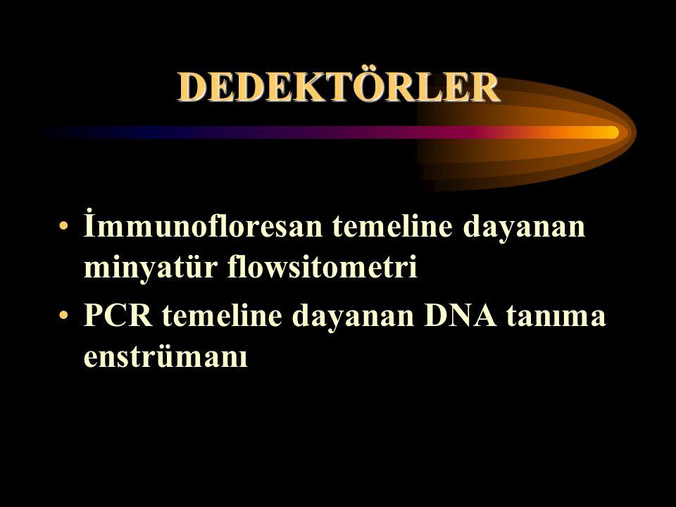 DEDEKTÖRLER İmmunofloresan temeline dayanan minyatür flowsitometri PCR temeline dayanan DNA tanıma enstrümanı