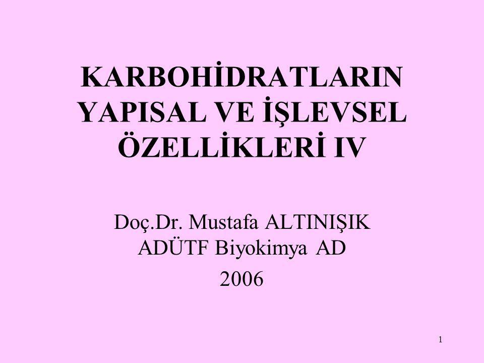 1 KARBOHİDRATLARIN YAPISAL VE İŞLEVSEL ÖZELLİKLERİ IV Doç.Dr. Mustafa ALTINIŞIK ADÜTF Biyokimya AD 2006