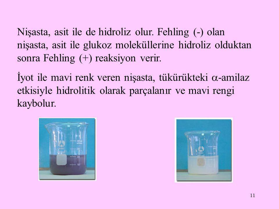 11 Nişasta, asit ile de hidroliz olur. Fehling (-) olan nişasta, asit ile glukoz moleküllerine hidroliz olduktan sonra Fehling (+) reaksiyon verir. İy