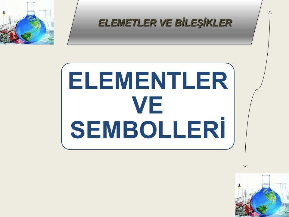 ELEMETLER VE BİLEŞİKLER Örnek : Su, iyot, hidrojen, oksijen molekülleri basit yapılı moleküllerdir.