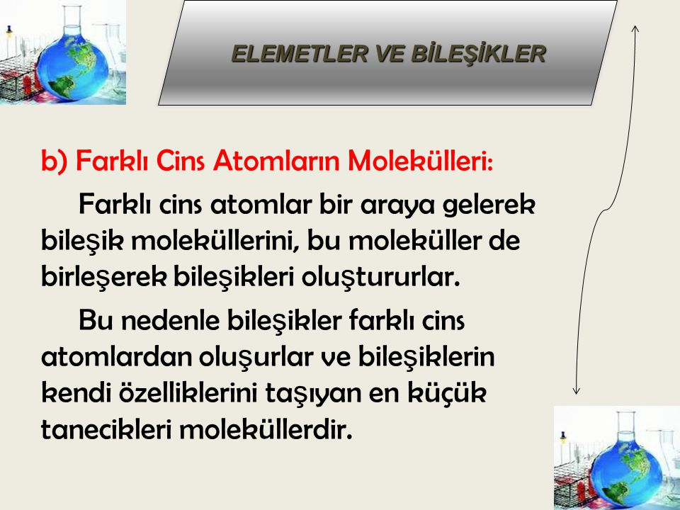 b) Farklı Cins Atomların Molekülleri: Farklı cins atomlar bir araya gelerek bile ş ik moleküllerini, bu moleküller de birle ş erek bile ş ikleri olu ş tururlar.