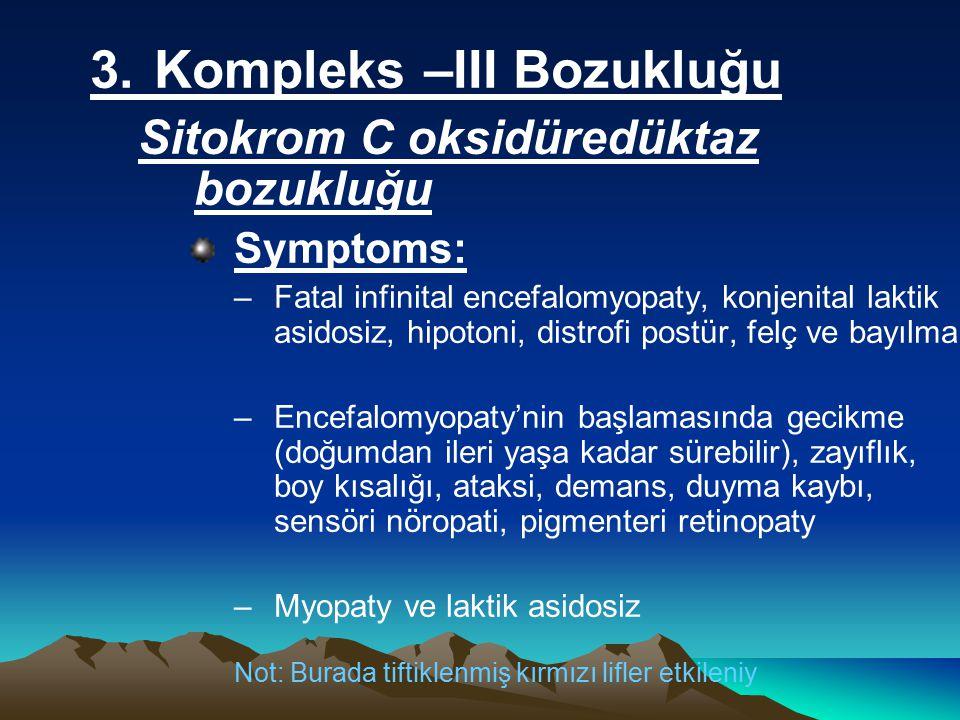 3.Kompleks –III Bozukluğu Sitokrom C oksidüredüktaz bozukluğu Symptoms: –Fatal infinital encefalomyopaty, konjenital laktik asidosiz, hipotoni, distrofi postür, felç ve bayılma –Encefalomyopaty'nin başlamasında gecikme (doğumdan ileri yaşa kadar sürebilir), zayıflık, boy kısalığı, ataksi, demans, duyma kaybı, sensöri nöropati, pigmenteri retinopaty –Myopaty ve laktik asidosiz Not: Burada tiftiklenmiş kırmızı lifler etkileniy