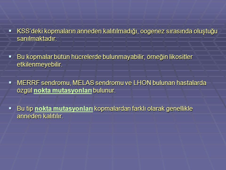 2.Kompleks-I Bozukluğu: NADH dehidrogenas (NADH-CoQ redüktaz) bozukluğu –Symptoms: Fatal infinital multi sistem bozukluğu karakteristiği geç gelişme, kas zayıflığı, kalp hastalığı, konjenital laktik asidosiz ve solunum bozukluğu Myopati (çocuklarda ya da olgun kişilerde görülebilir) Mitokondriyal encefalomyopaty (MELAS)