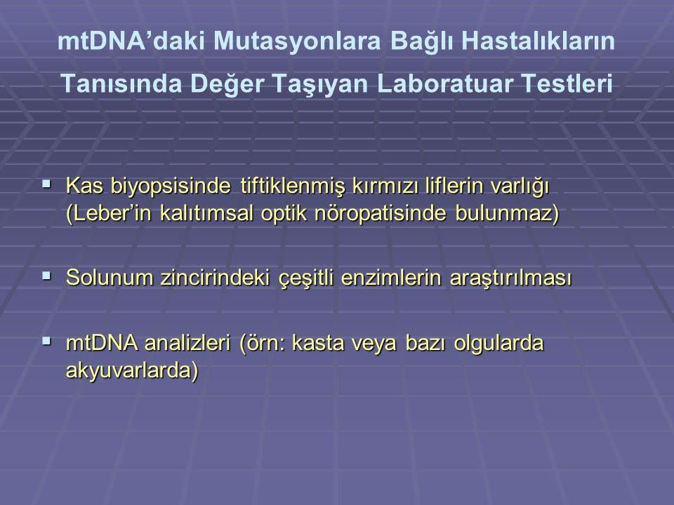 mtDNA'daki Mutasyonlara Bağlı Hastalıkların Tanısında Değer Taşıyan Laboratuar Testleri  Kas biyopsisinde tiftiklenmiş kırmızı liflerin varlığı (Leber'in kalıtımsal optik nöropatisinde bulunmaz)  Solunum zincirindeki çeşitli enzimlerin araştırılması  mtDNA analizleri (örn: kasta veya bazı olgularda akyuvarlarda)
