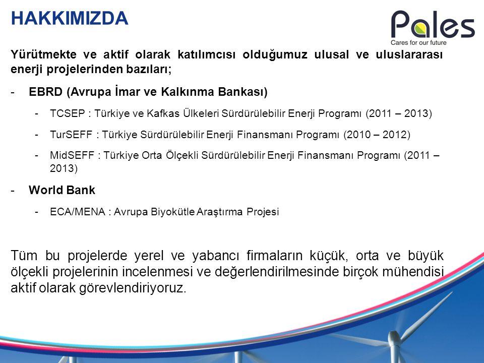 HAKKIMIZDA Yürütmekte ve aktif olarak katılımcısı olduğumuz ulusal ve uluslararası enerji projelerinden bazıları; -EBRD (Avrupa İmar ve Kalkınma Banka