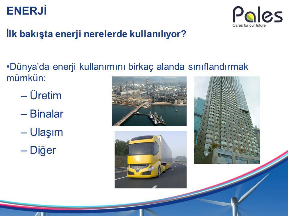 ENERJİ İlk bakışta enerji nerelerde kullanılıyor? Dünya'da enerji kullanımını birkaç alanda sınıflandırmak mümkün: –Üretim –Binalar –Ulaşım –Diğer