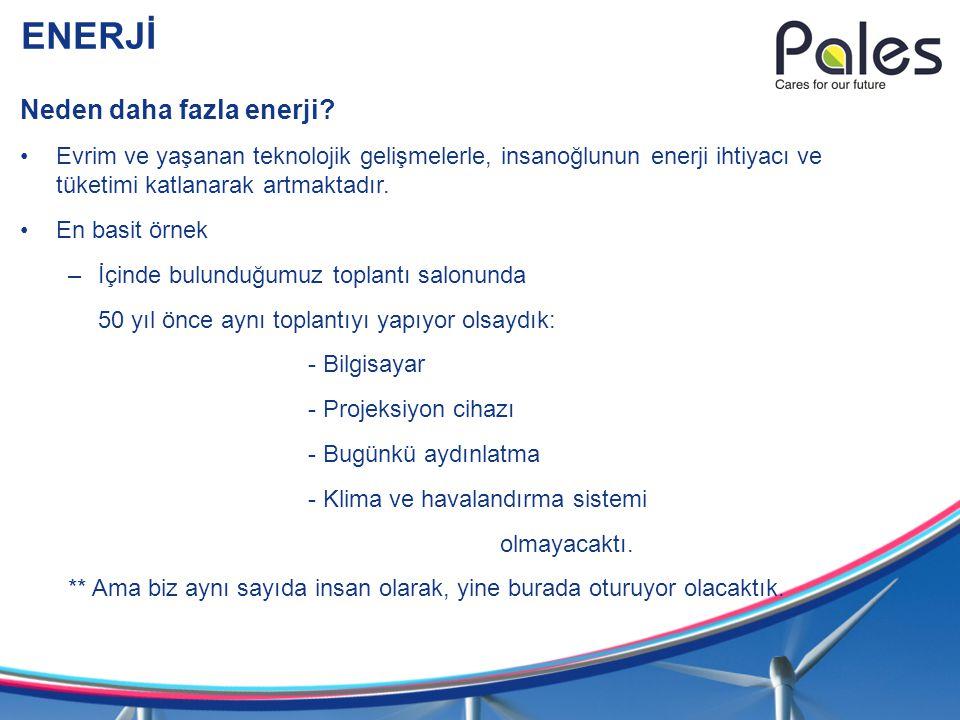 ENERJİ Neden daha fazla enerji? Evrim ve yaşanan teknolojik gelişmelerle, insanoğlunun enerji ihtiyacı ve tüketimi katlanarak artmaktadır. En basit ör
