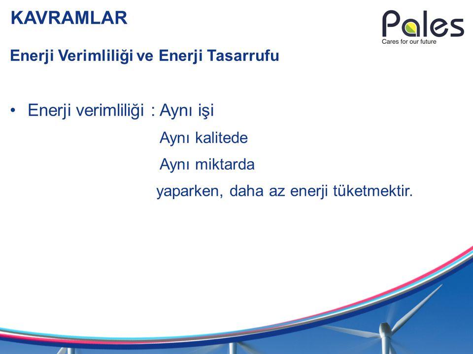 KAVRAMLAR Enerji yönetimi Bir işletmenin enerji tüketimini günün gereklerine uygun olarak gerçekleştirme uygulamalarının bütünüdür.