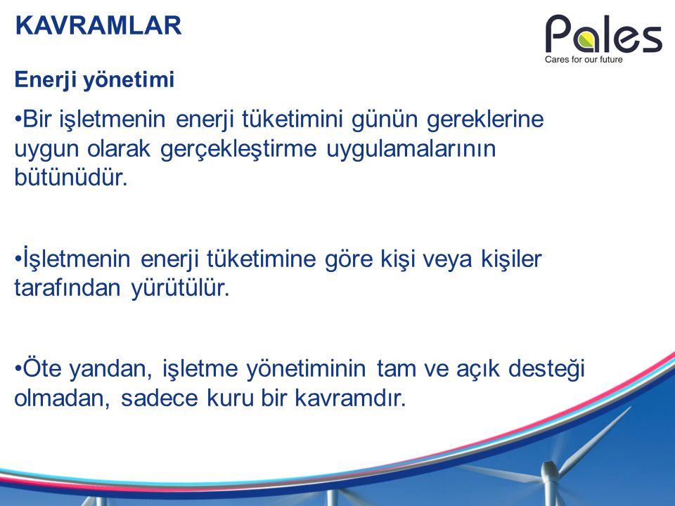 KAVRAMLAR Enerji yönetimi Bir işletmenin enerji tüketimini günün gereklerine uygun olarak gerçekleştirme uygulamalarının bütünüdür. İşletmenin enerji