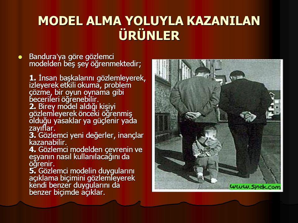 MODEL ALMA YOLUYLA KAZANILAN ÜRÜNLER Bandura ' ya göre gözlemci modelden beş şey öğrenmektedir; 1. İnsan başkalarını gözlemleyerek, izleyerek etkili o