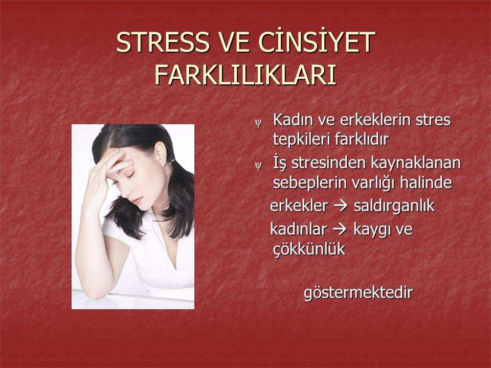 STRESS VE CİNSİYET FARKLILIKLARI ψ Kadın ve erkeklerin stres tepkileri farklıdır ψ İş stresinden kaynaklanan sebeplerin varlığı halinde erkekler  saldırganlık erkekler  saldırganlık kadınlar  kaygı ve çökkünlük kadınlar  kaygı ve çökkünlükgöstermektedir