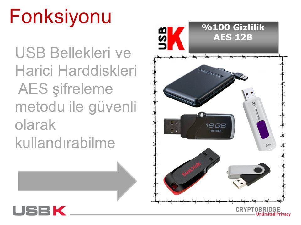 Fonksiyonu USB Bellekleri ve Harici Harddiskleri AES şifreleme metodu ile güvenli olarak kullandırabilme %100 Gizlilik AES 128 %100 Gizlilik AES 128