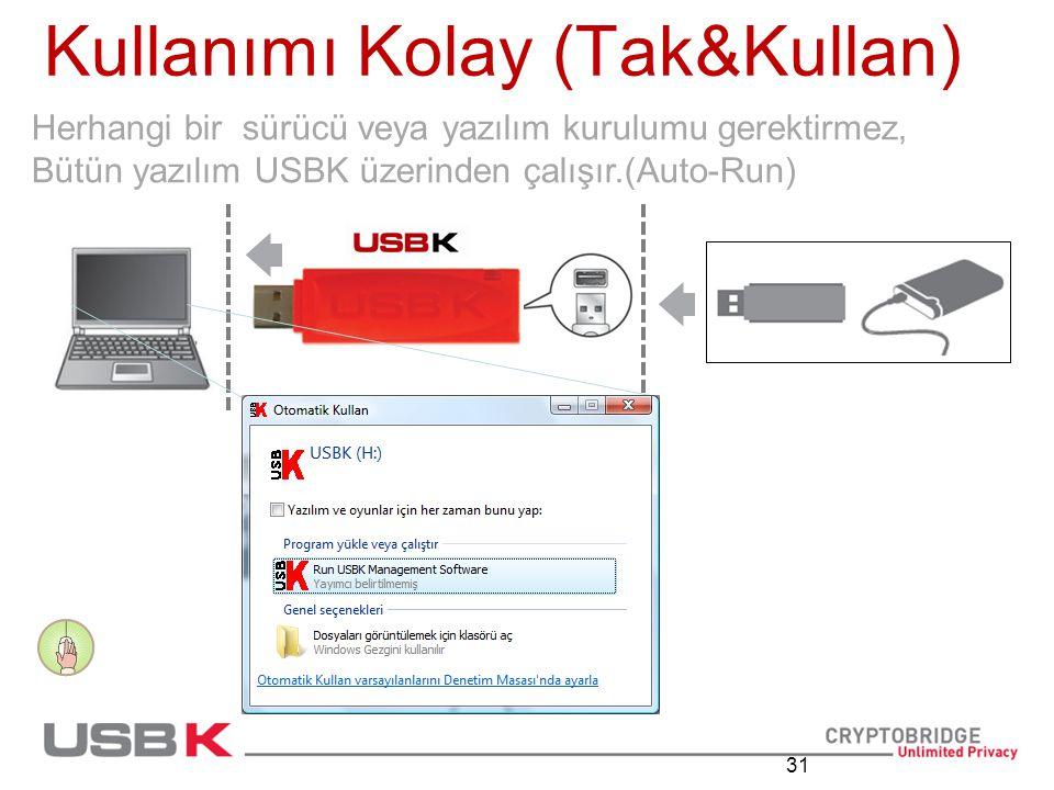 31 Kullanımı Kolay (Tak&Kullan) Herhangi bir sürücü veya yazılım kurulumu gerektirmez, Bütün yazılım USBK üzerinden çalışır.(Auto-Run)