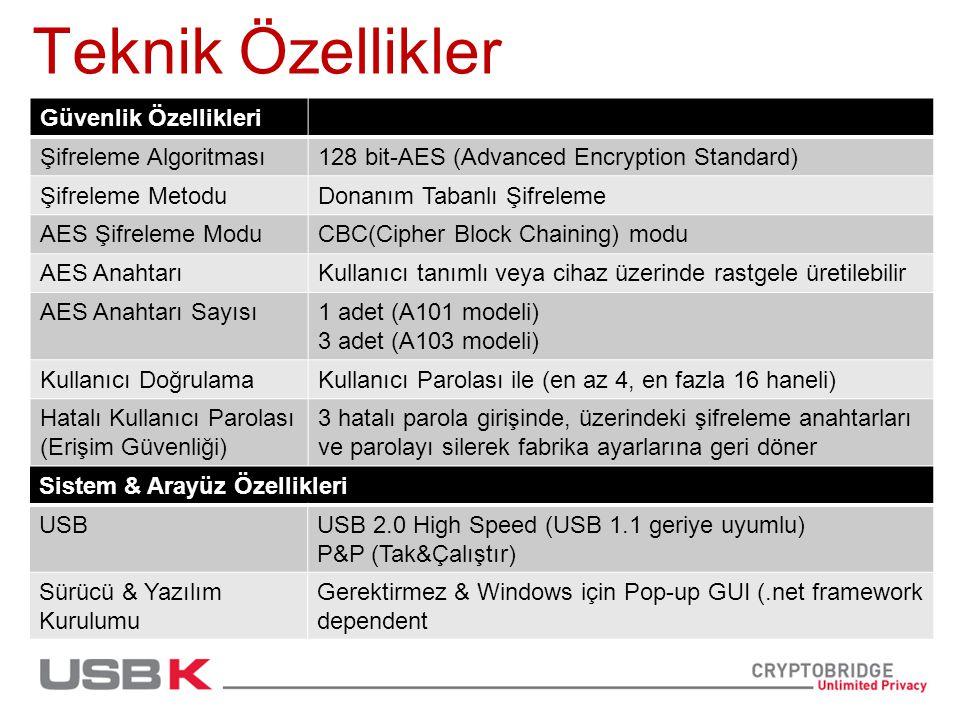 Teknik Özellikler Güvenlik Özellikleri Şifreleme Algoritması128 bit-AES (Advanced Encryption Standard) Şifreleme MetoduDonanım Tabanlı Şifreleme AES Şifreleme ModuCBC(Cipher Block Chaining) modu AES AnahtarıKullanıcı tanımlı veya cihaz üzerinde rastgele üretilebilir AES Anahtarı Sayısı1 adet (A101 modeli) 3 adet (A103 modeli) Kullanıcı DoğrulamaKullanıcı Parolası ile (en az 4, en fazla 16 haneli) Hatalı Kullanıcı Parolası (Erişim Güvenliği) 3 hatalı parola girişinde, üzerindeki şifreleme anahtarları ve parolayı silerek fabrika ayarlarına geri döner Sistem & Arayüz Özellikleri USBUSB 2.0 High Speed (USB 1.1 geriye uyumlu) P&P (Tak&Çalıştır) Sürücü & Yazılım Kurulumu Gerektirmez & Windows için Pop-up GUI (.net framework dependent