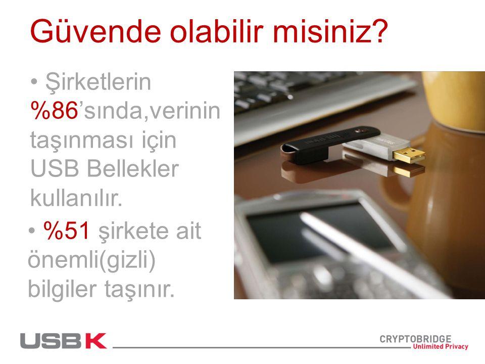 Güvende olabilir misiniz. Şirketlerin %86'sında,verinin taşınması için USB Bellekler kullanılır.