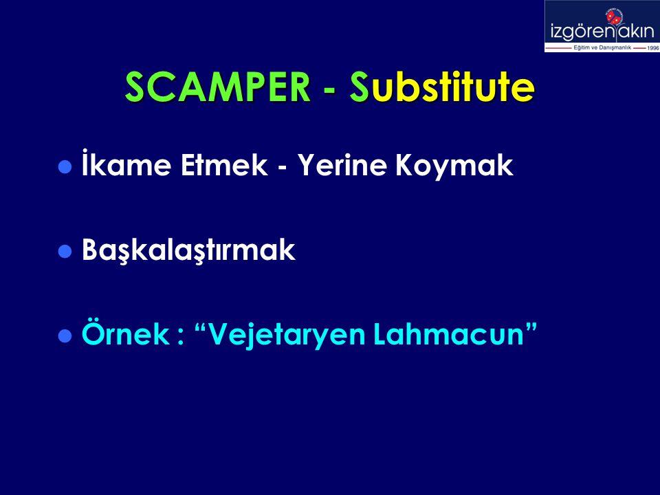 """SCAMPER - Substitute İkame Etmek - Yerine Koymak Başkalaştırmak Örnek : """"Vejetaryen Lahmacun"""""""