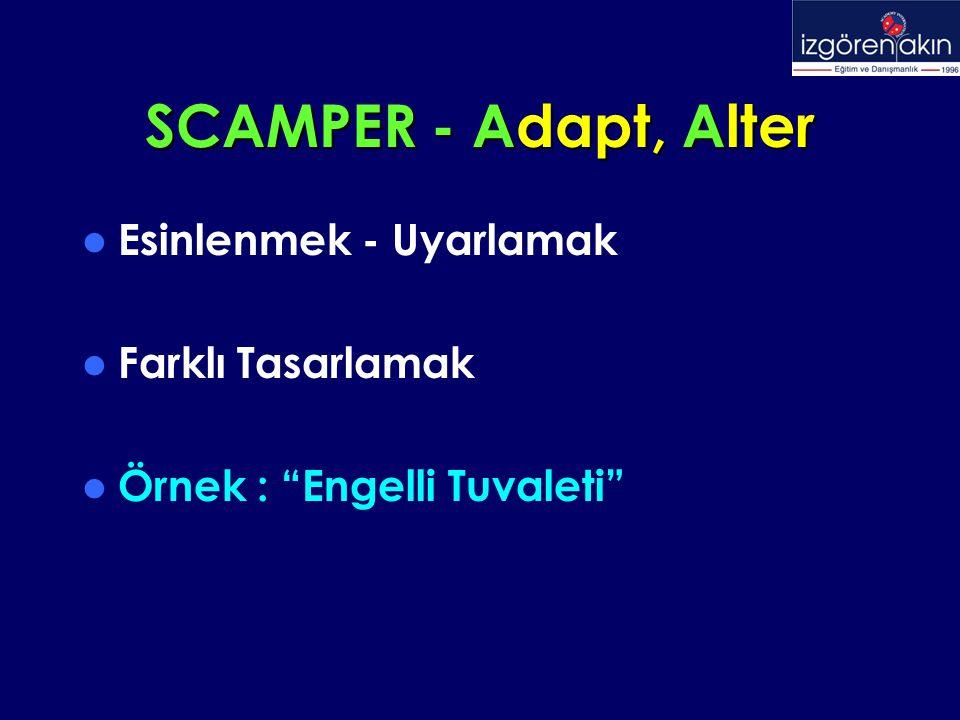 """SCAMPER - Adapt, Alter Esinlenmek - Uyarlamak Farklı Tasarlamak Örnek : """"Engelli Tuvaleti"""""""