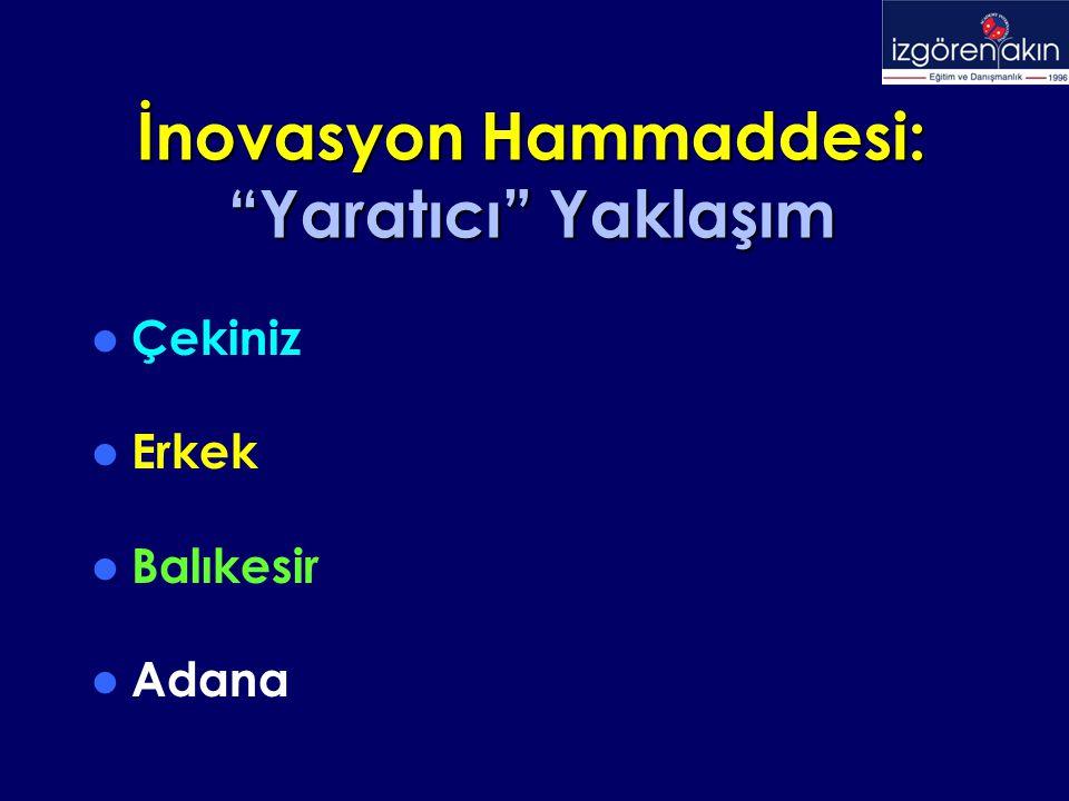 """İnovasyon Hammaddesi: """"Yaratıcı"""" Yaklaşım Çekiniz Erkek Balıkesir Adana"""