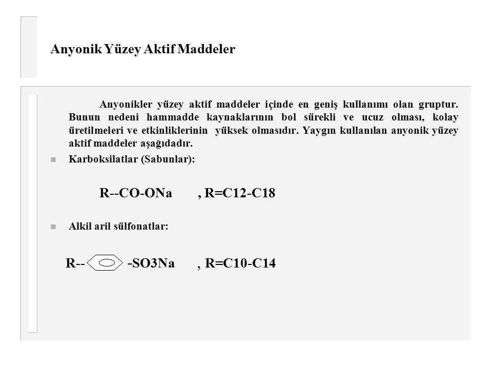 Anyonik Yüzey Aktif Maddeler R-- Anyonikler yüzey aktif maddeler içinde en geniş kullanımı olan gruptur. Bunun nedeni hammadde kaynaklarının bol sürek