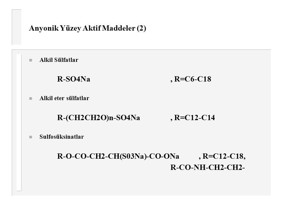 Anyonik Yüzey Aktif Maddeler (2) n Alkil Sülfatlar R-SO4Na, R=C6-C18 n Alkil eter sülfatlar R-(CH2CH2O)n-SO4Na, R=C12-C14 n Sulfosüksinatlar R-O-CO-CH