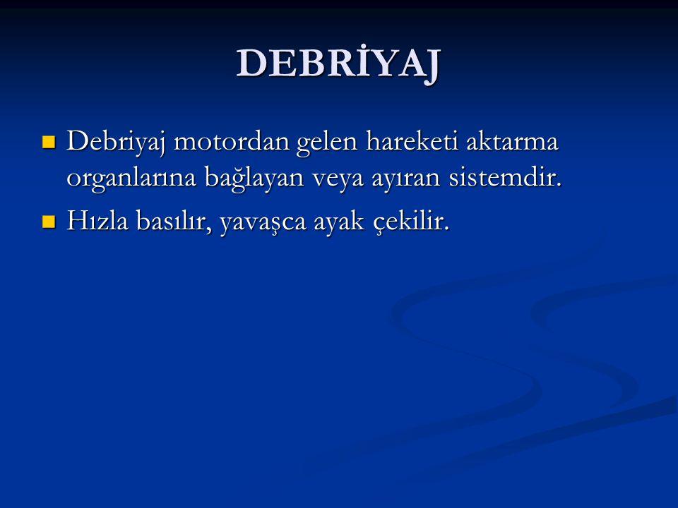 DEBRİYAJ Debriyaj motordan gelen hareketi aktarma organlarına bağlayan veya ayıran sistemdir. Debriyaj motordan gelen hareketi aktarma organlarına bağ