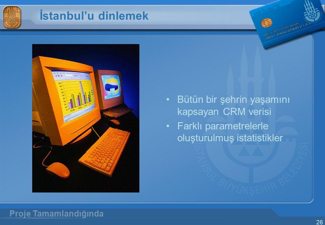 26 İstanbul'u dinlemek Bütün bir şehrin yaşamını kapsayan CRM verisi Farklı parametrelerle oluşturulmuş istatistikler Proje Tamamlandığında