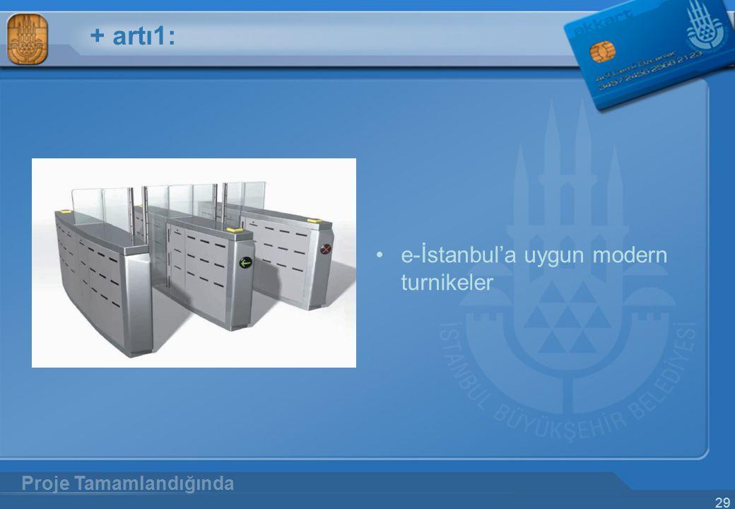 29 + artı1: e-İstanbul'a uygun modern turnikeler Proje Tamamlandığında