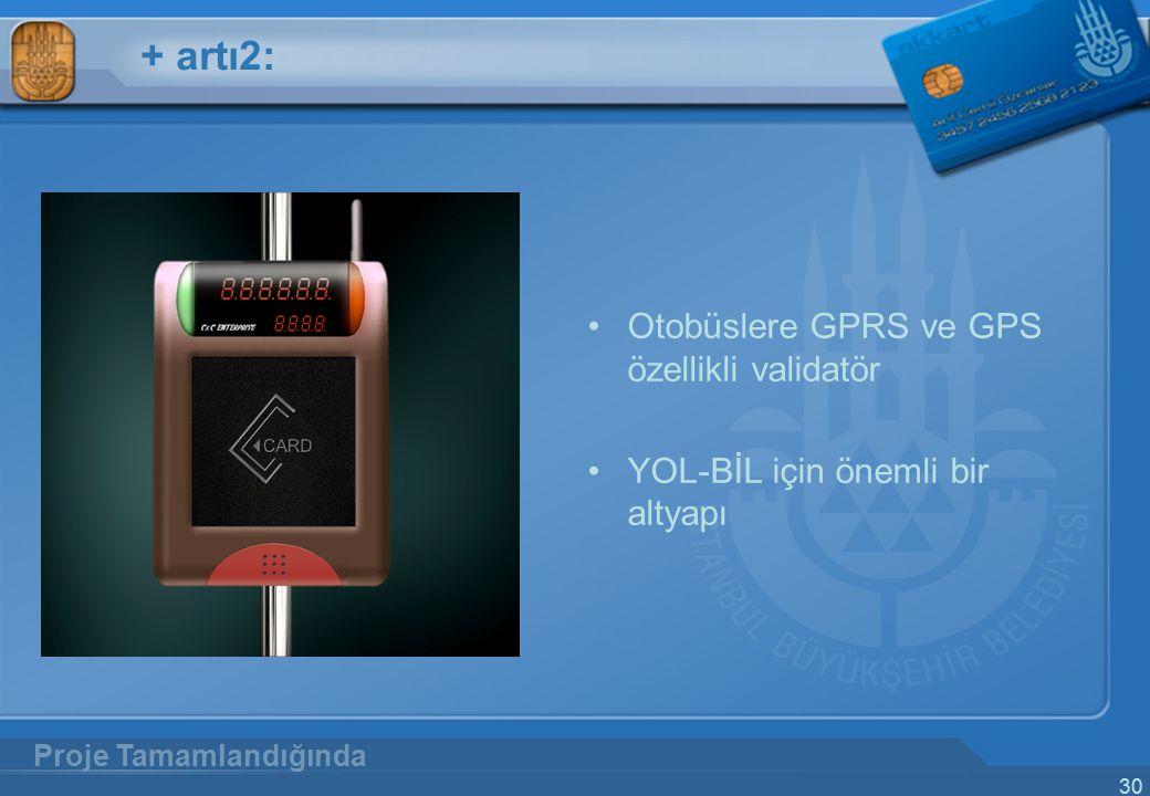 30 + artı2: Otobüslere GPRS ve GPS özellikli validatör YOL-BİL için önemli bir altyapı Proje Tamamlandığında