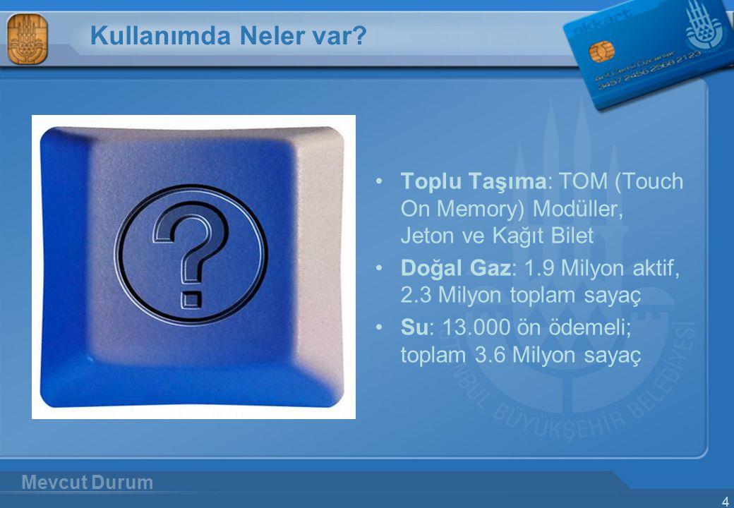4 Kullanımda Neler var? Toplu Taşıma: TOM (Touch On Memory) Modüller, Jeton ve Kağıt Bilet Doğal Gaz: 1.9 Milyon aktif, 2.3 Milyon toplam sayaç Su: 13