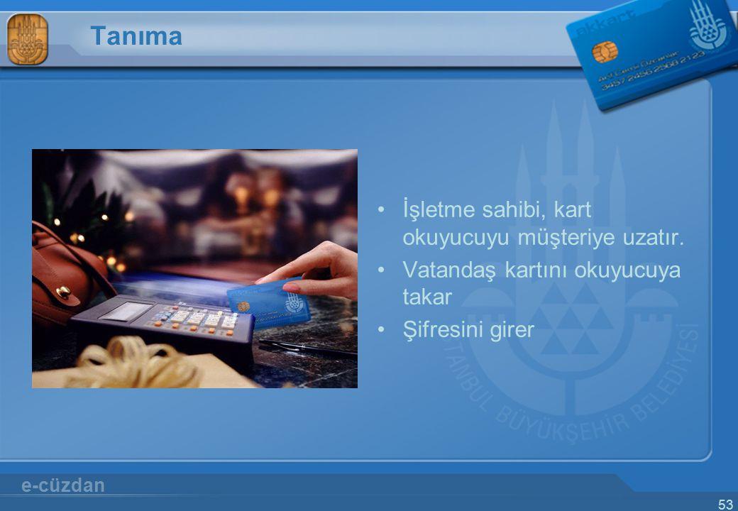 53 Tanıma İşletme sahibi, kart okuyucuyu müşteriye uzatır. Vatandaş kartını okuyucuya takar Şifresini girer e-cüzdan